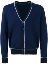 Kent And Curwen Striped Trim V Neck Cardigan Blue