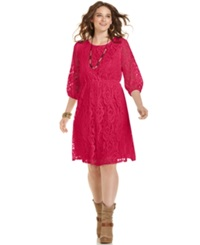 Ing Plus Size Three Quarter Sleeve Lace Dress Red