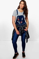 Boohoo Indea Embroidered Dungaree Blue