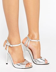Little Mistress Peep Toe Heeled Sandal With Ankle Strap Silver
