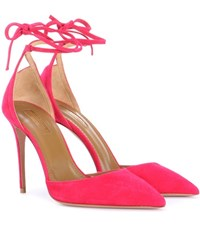 Aquazzura Heart Breaker 105 Suede Pumps Pink