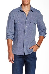 7 For All Mankind Double Patch Pocket Linen Shirt Blue