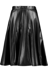 Marc By Marc Jacobs Flared Pleated Faux Leather Skirt Black