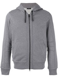 Belstaff Zip Front Hooded Sweatshirt Grey