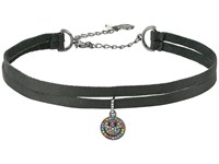 Betsey Johnson Pave Smile Charm 2 Row Choker Necklace Black Necklace