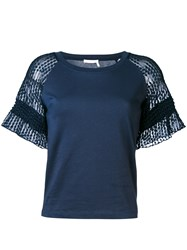 See By Chloe Lace Raglan Sleeve T Shirt Women Cotton M Blue