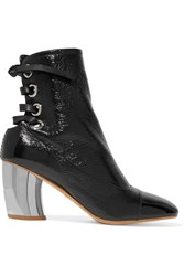 Proenza Schouler Lace Up Glossed Textured Leather Ankle Boots Black