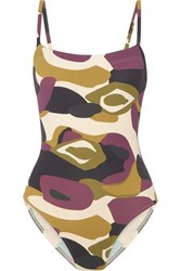 80f9dca3ee4 Aquarelle Camouflage Print Swimsuit Army Green