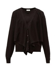 Christophe Lemaire Button Front Merino Wool Blend Sweater Black
