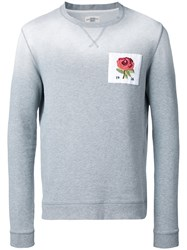 Kent And Curwen Floral Embroidery Jumper Grey