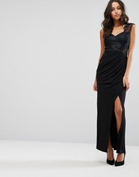 Lipsy Michelle Keegan Loves Sequin Maxi Dress With Lace Inserts Black