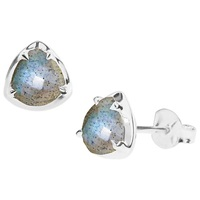 Dinny Hall Sheba Sterling Silver Labradorite Stud Earrings Silver