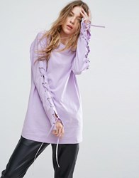 Asos T Shirt With Corset Lace Up Sleeve Lilac Purple