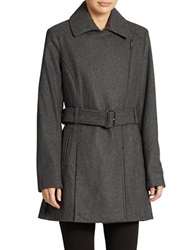 Kenneth Cole Reaction Belted Zip Front Coat Grey