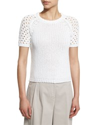 Peserico Short Sleeve Cotton Crochet Sweater Women's White