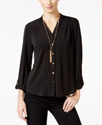 Ny Collection Petite Chain Necklace Shirt Black