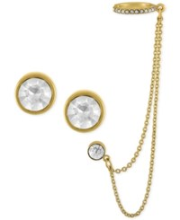 Rachel Roy Gold Tone Crystal Stud Earrings And Chain Swag Ear Cuff Set