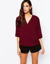 Ax Paris Wrap Front Blouse Burgundy Red