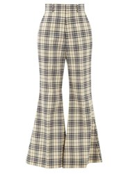Gucci Flared Checked Wool Trousers Blue White