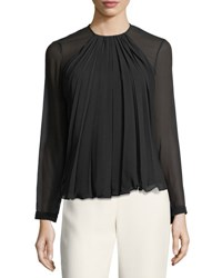 Giorgio Armani Pleated Georgette Long Sleeve Top Black
