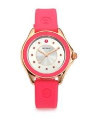 Michele Cape Pink Topaz Rose Goldtone Stainless Steel And Silicone Strap Watch Pink