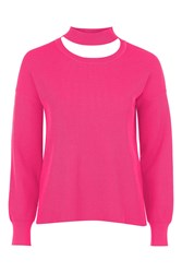 Topshop Choker Crew Neck Knitted Sweater Pink