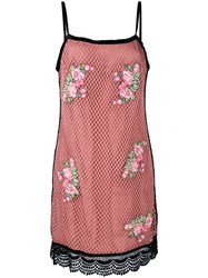House Of Holland Embroidered Mesh Dress Women Cotton Polyester 6 Pink Purple