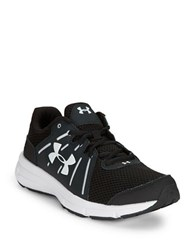 Under Armour Dash Lace Up Leather And Mesh Sneakers Black White