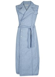 Each X Other Light Blue Embroidered Chambray Midi Dress