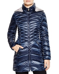 Laundry By Shelli Segal Lightweight Puffer Coat Navy Pewter