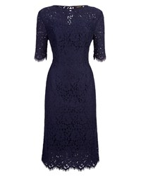 Jaeger Open Back Lace Dress Navy