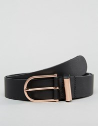 Asos Smart Leather Belt With Rose Gold Trims Black