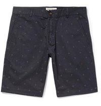 Universal Works Embroidered Cotton Twill Shorts Navy