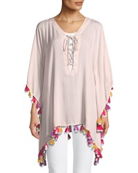 Bindya Lace Up Tunic With Tassels Pink