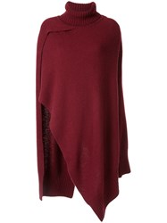 Eudon Choi Claudia Knitted Cape Red