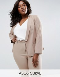Asos Curve Blazer In Crepe With Slim Lapel Stone Beige