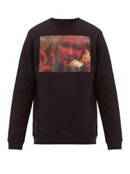 Raf Simons Picture Print Cotton Jersey Sweatshirt Black