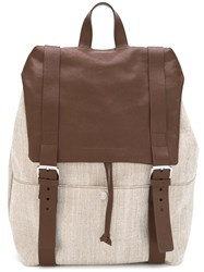 Brunello Cucinelli Buckled Straps Backpack Nude Neutrals