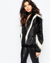 Unreal Fur Fringe Arrows Jacket Blackandwhite
