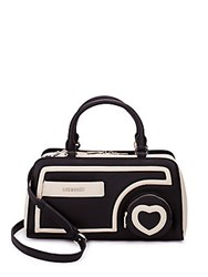 Love Moschino Heart Two Tone Faux Leather Satchel Black