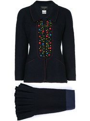 Chanel Vintage Dots Detail Skirt Suit Blue