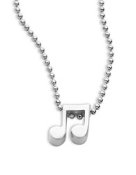 Alex Woo Little Rockstar Sterling Silver Double Note Necklace