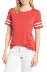 Gibson Stripe Sleeve Cotton Blend Athletic Tee Washed Red With White