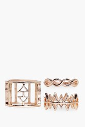 Boohoo Cut Out Mixed Pattern Ring Pack Rose Gold