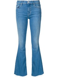 Mother Frayed Hem Flared Jeans Blue
