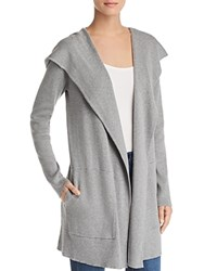 Minnie Rose Hooded Open Front Cardigan Silver Grey