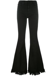 Love Moschino Frayed Flared Trousers Black