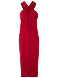 Mara Mac Long Draped Dress Red