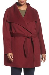 T Tahari Plus Size Women's 'Ella' Wrap Coat Burgundy
