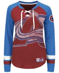 Majestic Women's Colorado Avalanche Hip Check Long Sleeve T Shirt Maroon Blue
